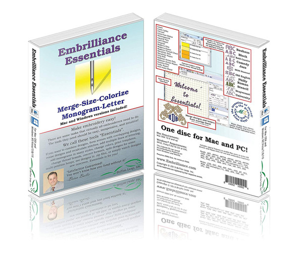 Embrilliance Essentials Embroidery Software for Mac and PC