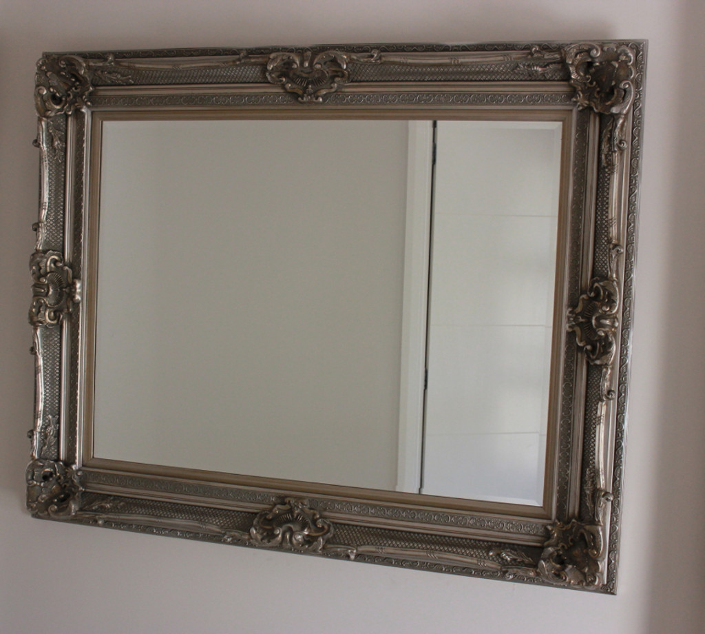Grand Ornate Silver Beveled Mirror | In Situ