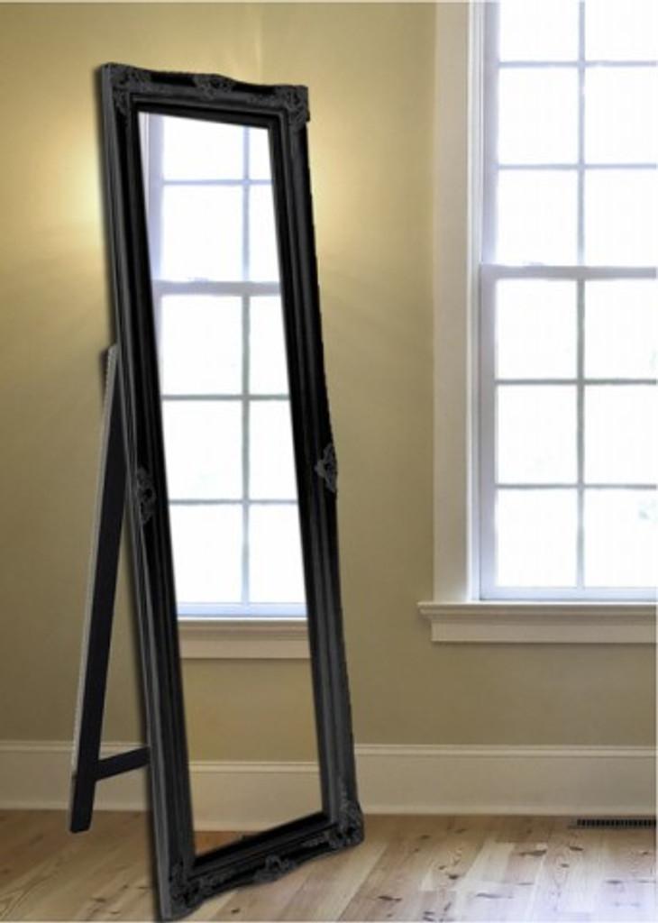 Gloss Black Free Standing Mirror
