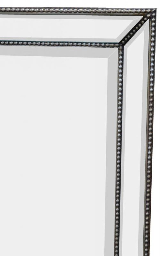 Contemporary Mirror with Beaded Silver Frame, Detail