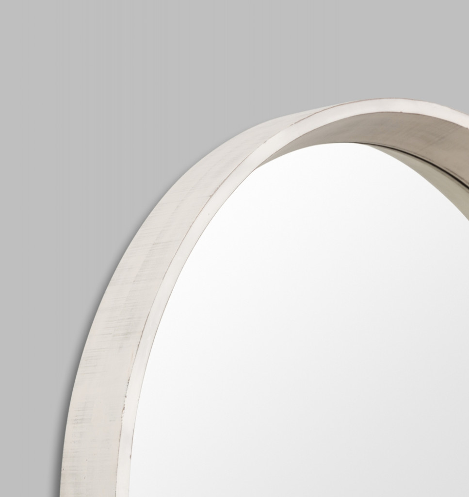Round White Mirror Coastal  | Detail | Print Decor