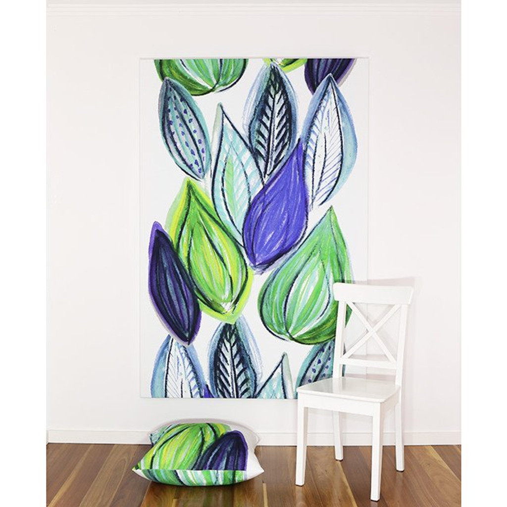 Scandinavian designed fabric art,  Frutti Blue