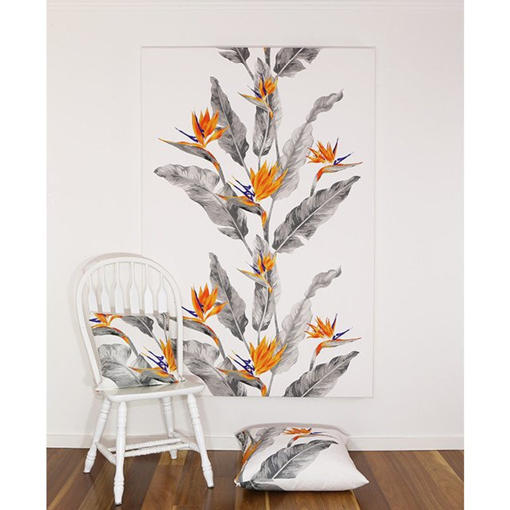 Strelitzia Grey | Scandinavian Fabric Wall Art | Print Decor, Melbourne