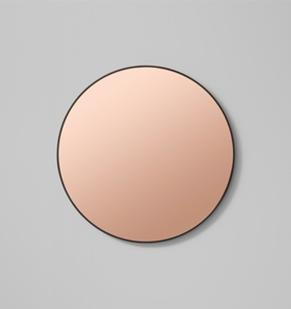 Modern Round Circular Mirror with copper tint