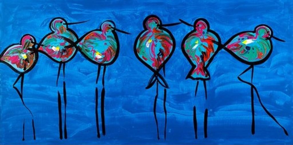 Australian Modern Marine Art   Blue Oyster Catches   Print Decor Gallery