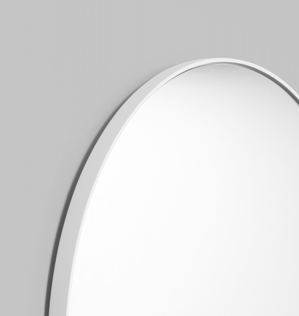Modern Round Mirror | Bjorn | Bright White, detail