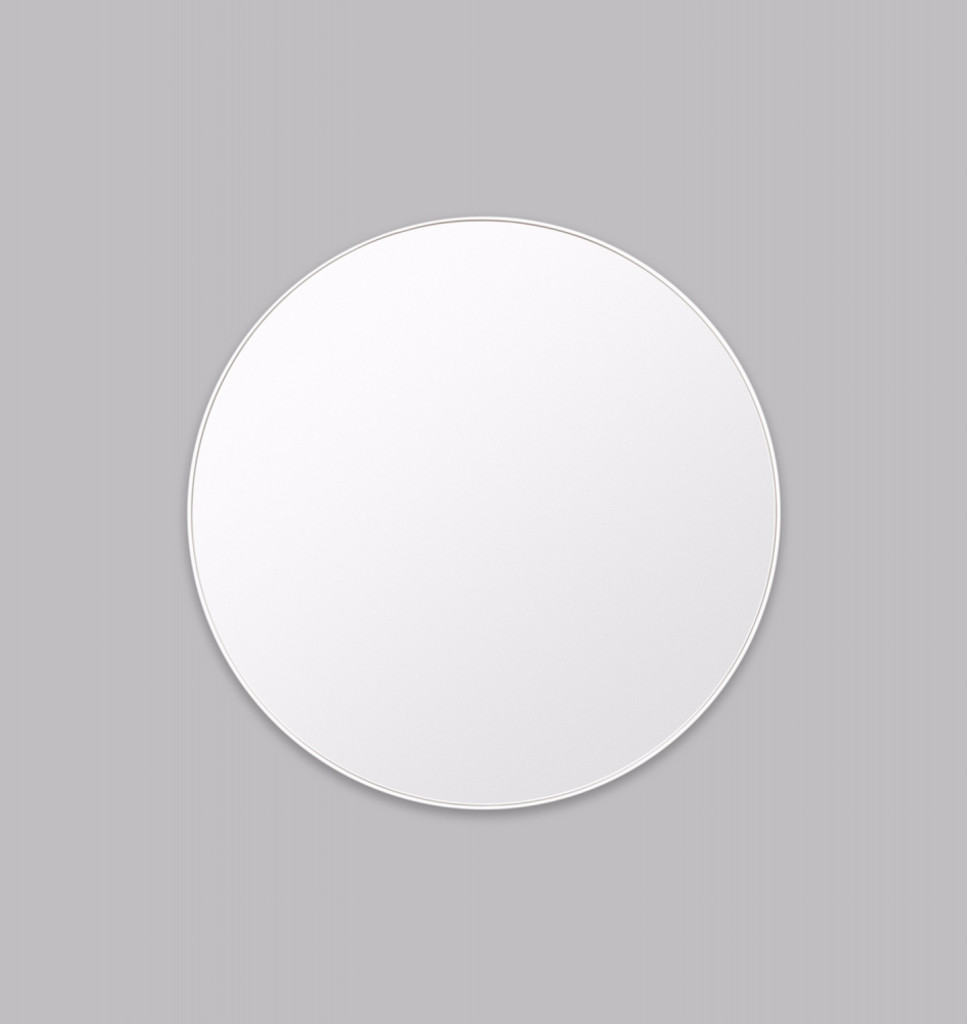 Modern Circular Mirror Bright White   Print Decor