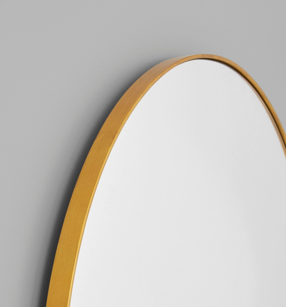 Bjorn Brass Arched Top Leaner Mirror, detail