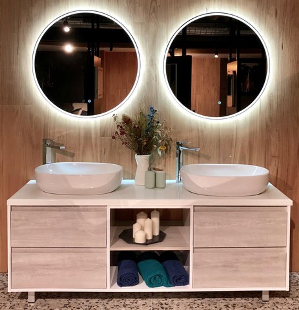 Round Backlit Mirror 80 cm, In Situ