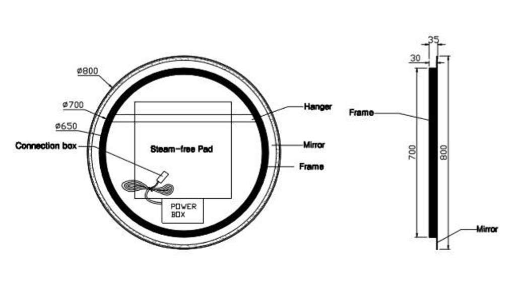 Round Backlit Mirror 80 cm, Technical Stuff