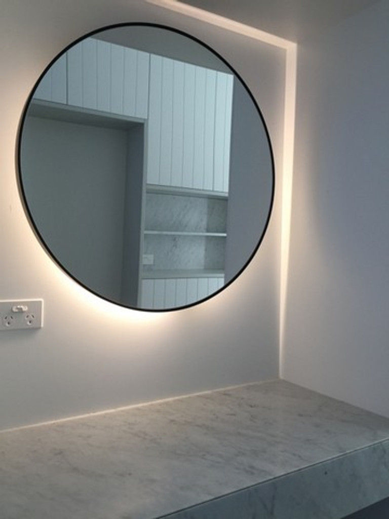 Example of mirror with back lighting   Large Modern Circular Mirror