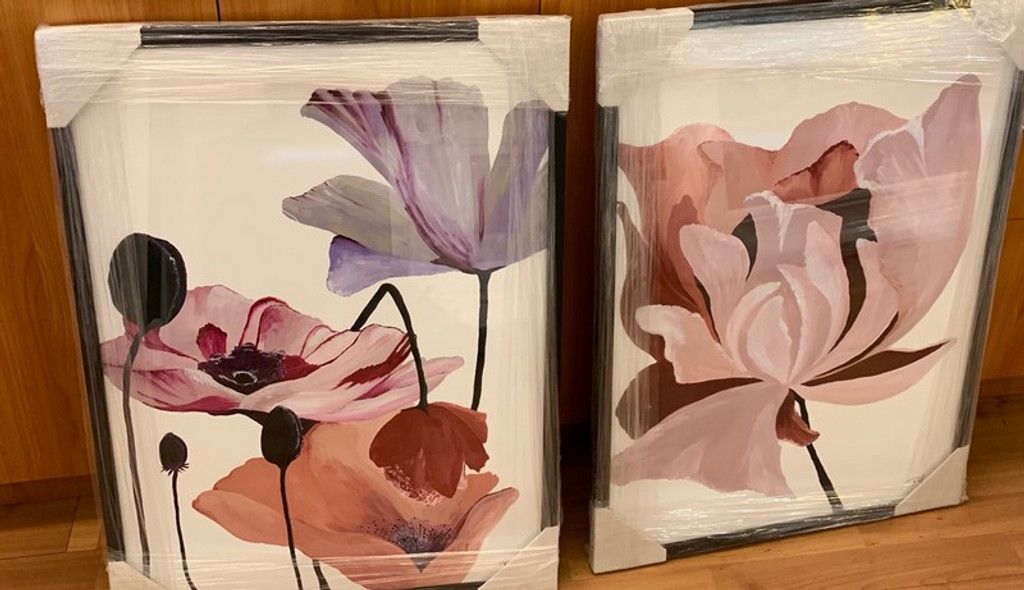 A pair of framed flower prints, Danelle Messaike.