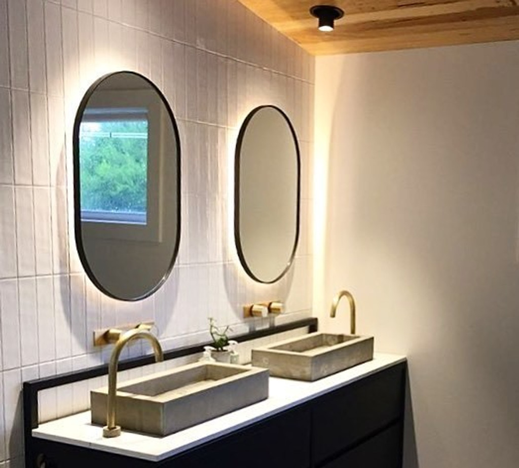 Bjorn Oval Black in bathroom (LEDs not provided)
