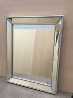 Contemporary Mirror with Beaded Silver Frame