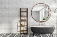 Simplicity Mirror Brass Copper in a bathroom