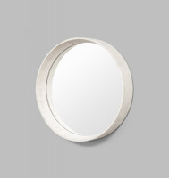 Round White Mirror Coastal  | Side View | Print Decor