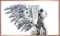 Framed in Rose Gold Frame   Girl in American Indian Headdress   Print Decor, Malvern
