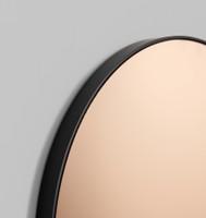 Modern Round Circular Mirror with copper tint, detail