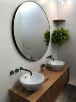 Modern Circular Round Mirror in a bathroom