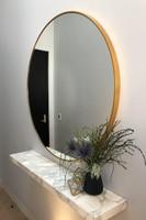 Modern Round Brass Mirror, in situ