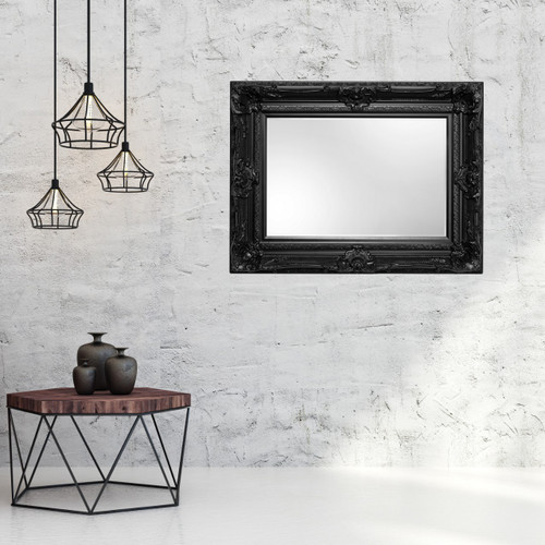 Grand Ornate Black Framed Mirror
