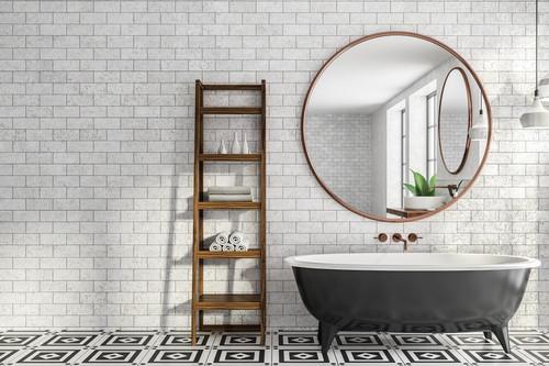 Cuprice Mirror Brass Copper in a bathroom