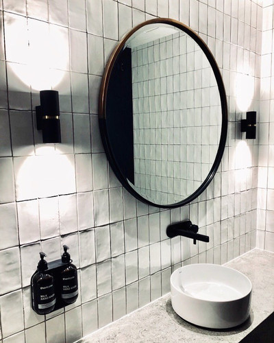 Brass & Black in a bathroom