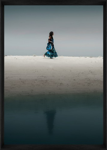 Designer Framed Print | Girl Walking on Sand, framed image | Print Decor, Malvern