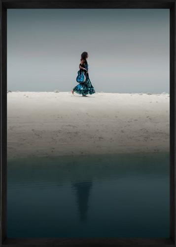Designer Framed Print | Girl Walking on Sand, framed image | Print Decor, Malvern