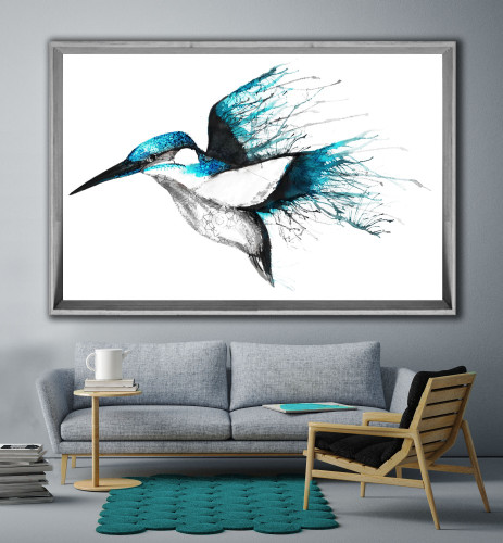 Smoked Grey Wooden Angled Frame, Kingfisher, Print Decor