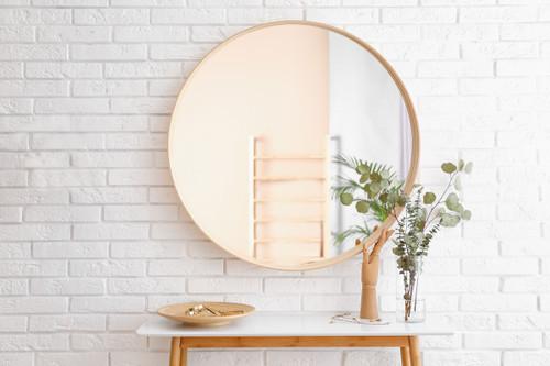 Henderson Oak Round Mirror, In Situ