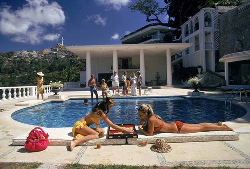 Poolside Backgammon by Slim Aarons