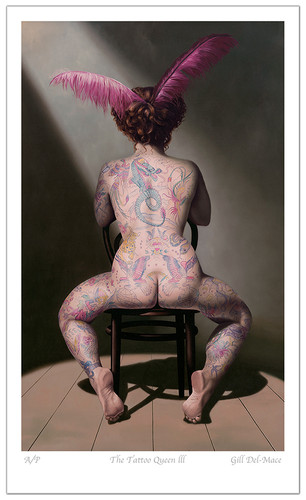 Seated Nude with Tattoos   Tattoo Queen III
