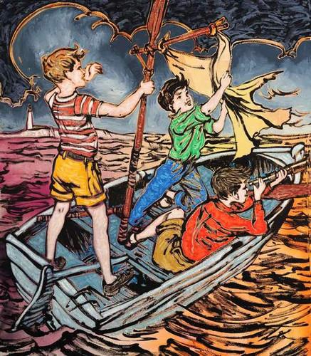 Fluro Boys in Boat by David Bromley
