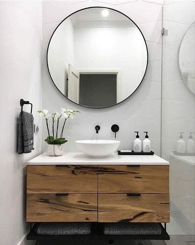 Modern Circular Mirror, In Situ   80cm Black   Print Decor