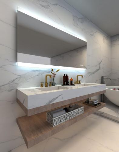 Frameless Illuminated Bathroom Mirror, with demister and Bluetooth audio as an optional extra   Print Décor Malvern