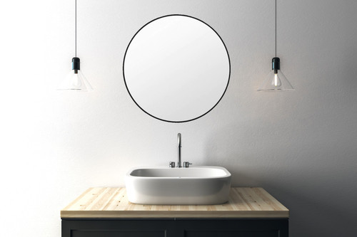 Mat Black Metal Framed Mirror in Bathroom