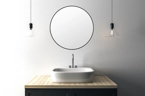 Mat Black Metal Framed Mirror in Bathroom