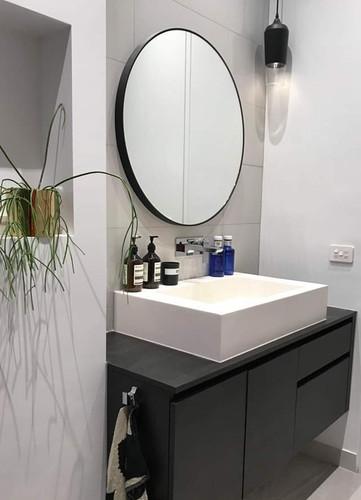 Modern Circular Mirror | 100cm Black | Print Decor