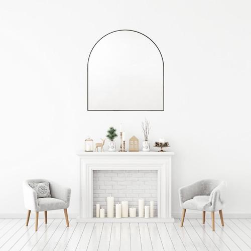 Bjorn Arched Mirror 80 x 85 cm Black Frame