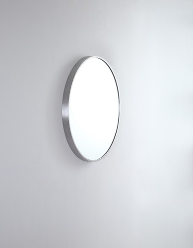 Round Metal Mirror   Brashed Nickel   61 cm