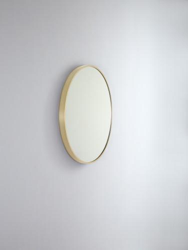 Round Metal Mirror   Brushed Brass   81 cm