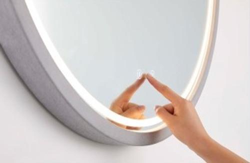 Round Backlit Mirror | Concrete Frame