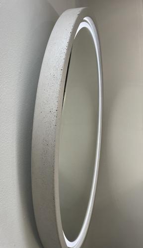 Backlit Round Concrete Mirror