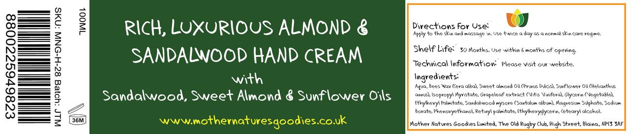 RICH, LUXURIOUS ALMOND & SANDALWOOD HAND CREAM 100ML