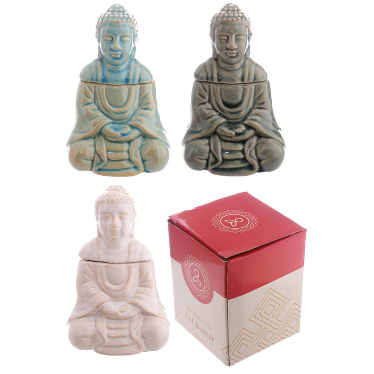 Ceramic Seated Thai Buddha Oil Burner With Lid