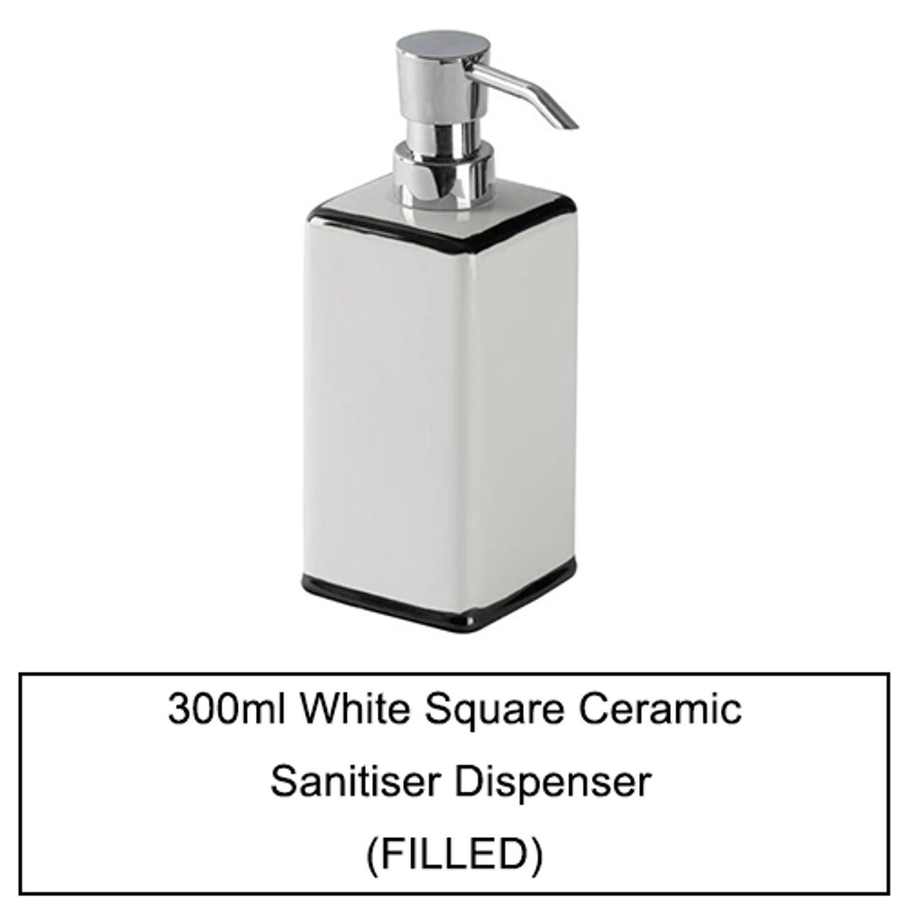 280ml - 300ml Manual Pump Ceramic Sanitiser Dispensers (Filled)