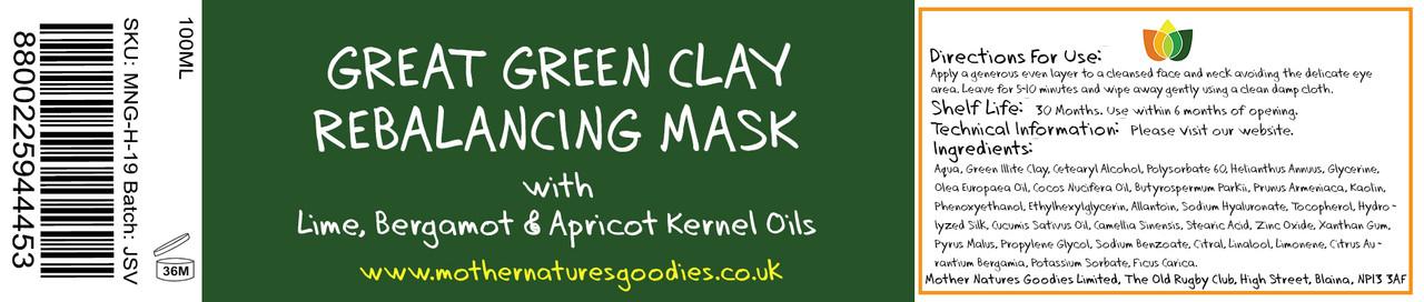 GREAT GREEN CLAY REBALANCING FACE MASK 100ML