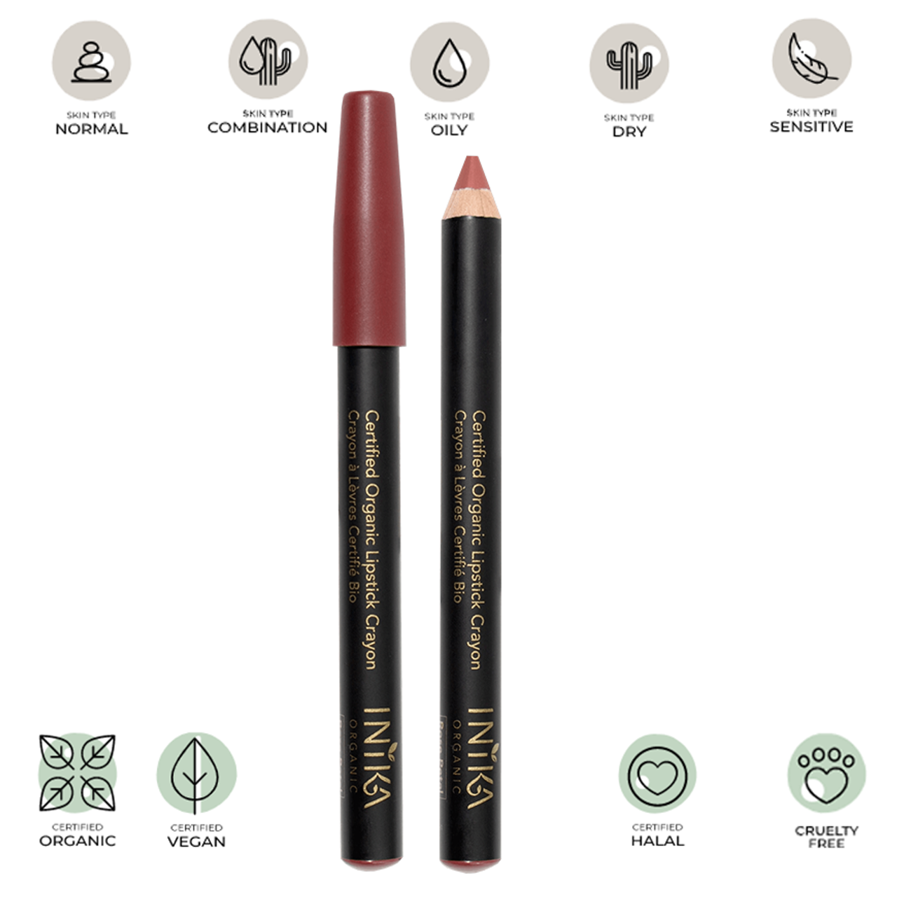 Certified Organic Lipstick Crayon (Rose Petal) 3g