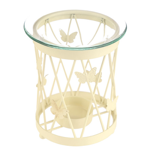 Lattice Butterfly Metal Oil Burner With Glass Dish
